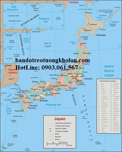 Bản đồ nước Nhật khổ lớn