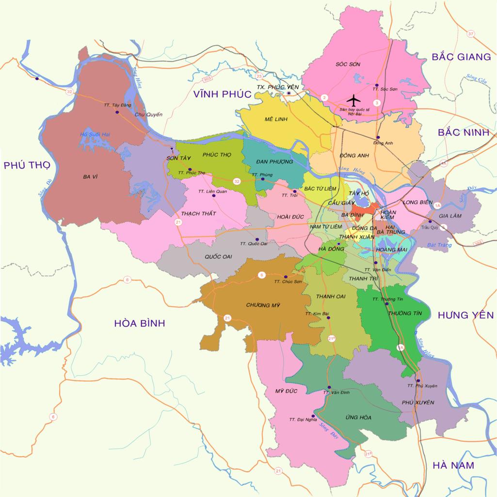 Bản đồ giao thông Hà Nội khổ lớn 1