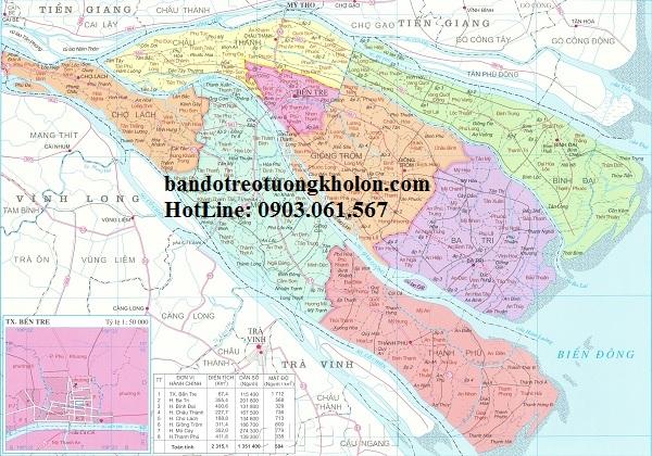 Bản đồ hành chính Bến Tre khổ lớn
