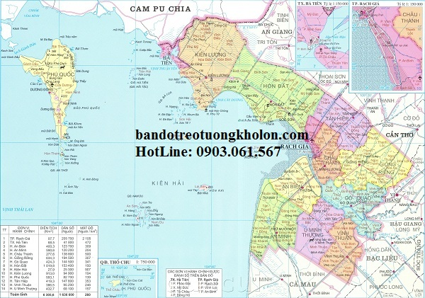 Bản đồ hành chính Kiên Giang khổ lớn