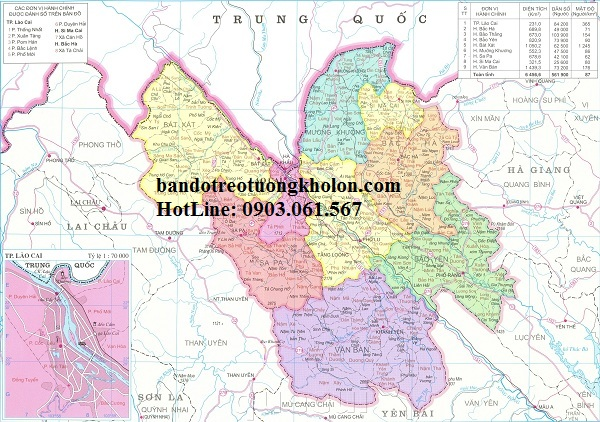 Bản đồ hành chính Lào Cai khổ lớn