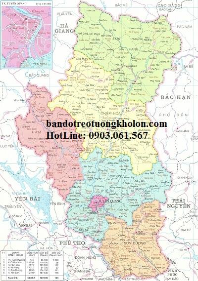 Bản đồ hành chính Tuyên Quang khổ lớn