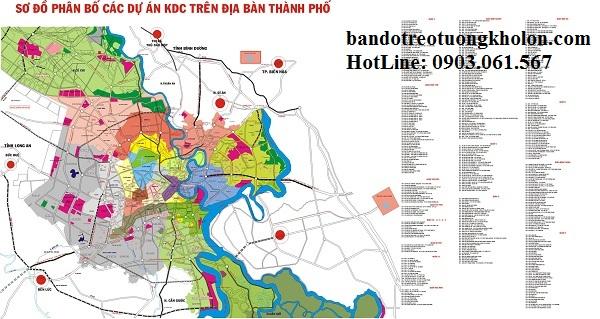Bản đồ quy hoạch phân bổ các dự án KDC trong địa bàn thành phố