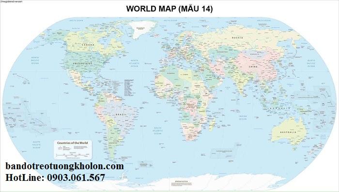 Bản đồ thế giới khổ lớn mẫu 14