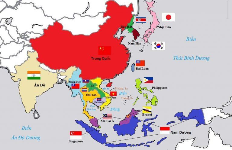 Đi mọi nơi với bản đồ thế giới châu Á