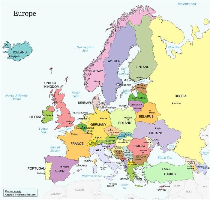 bản đồ hành chính Châu Âu
