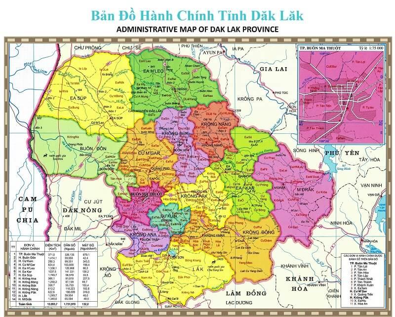 bản đồ hành chính tỉnh Đăk Lăk