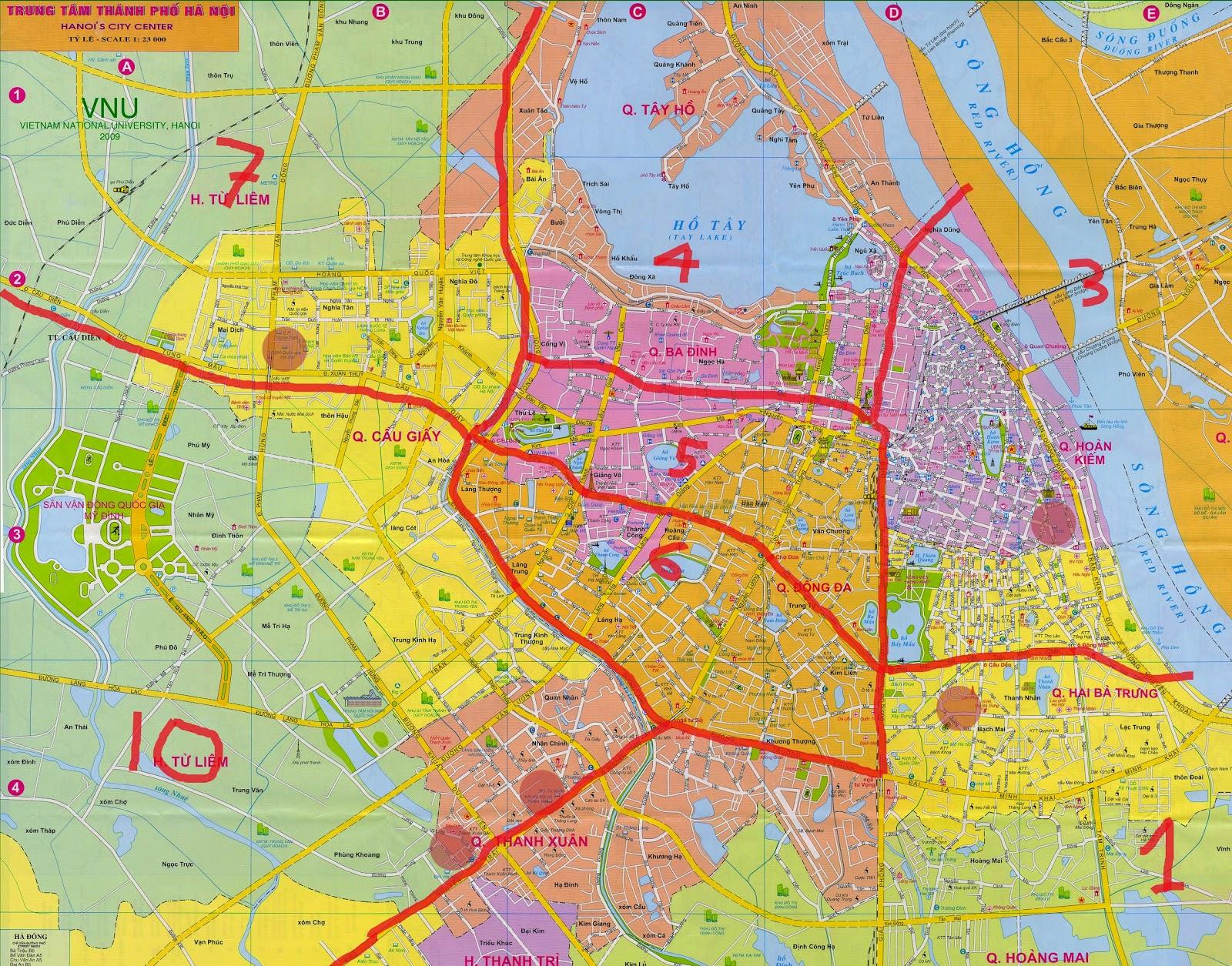 Bản đồ giao thông Hà Nội khổ lớn 2