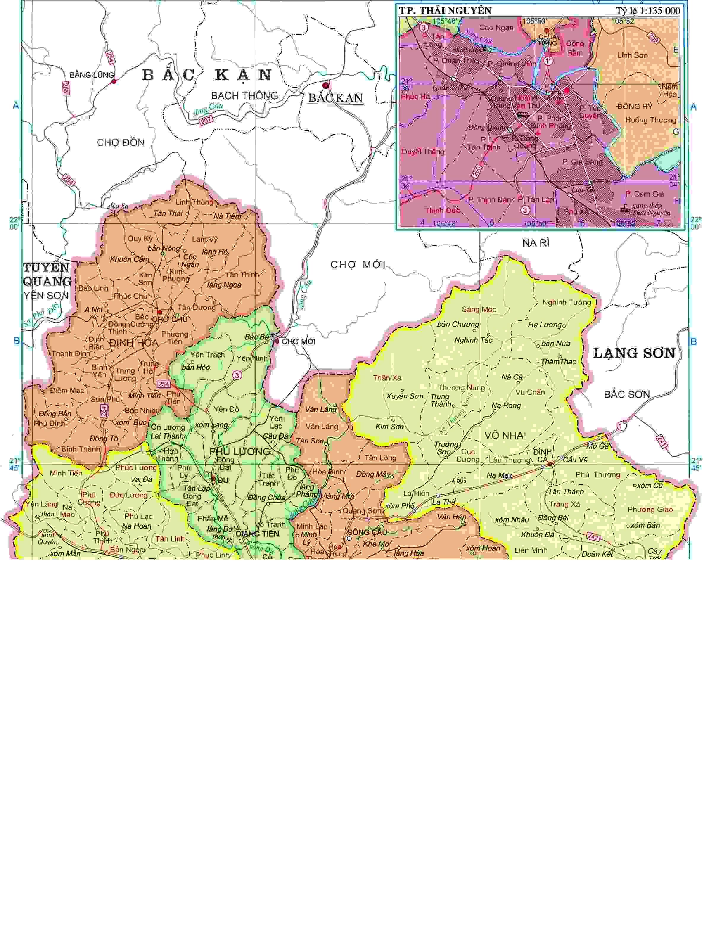 bản đồ hành chính Thái Nguyên khổ lớn