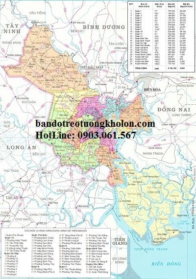 Bản đồ hành chính Tp Hồ Chí Minh khổ lớn