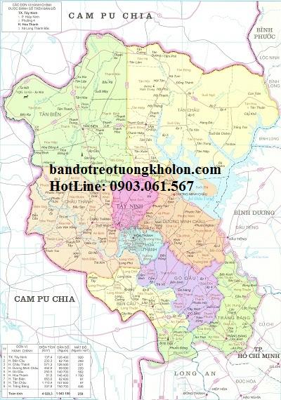 Bản đồ hành chính Tây Ninh khổ lớn