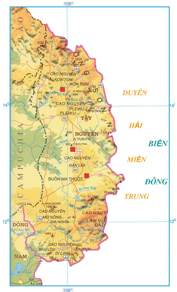 bản đồ khu vực miền Trung