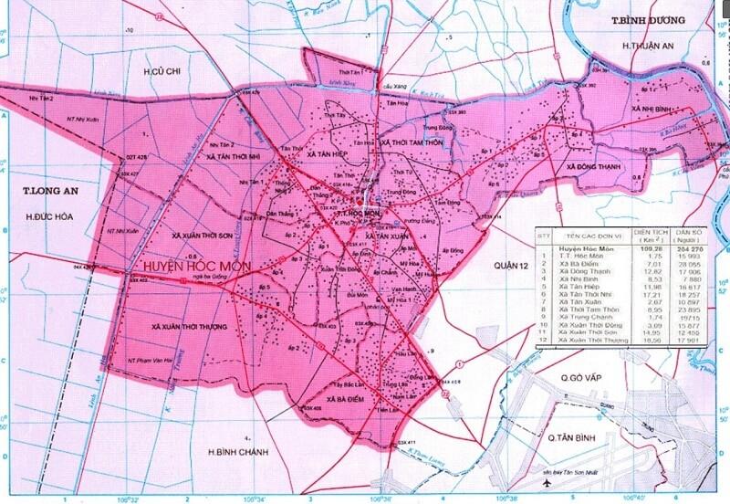 Đôi Nét Về Bản Đồ Huyện Hóc Môn TPHCM